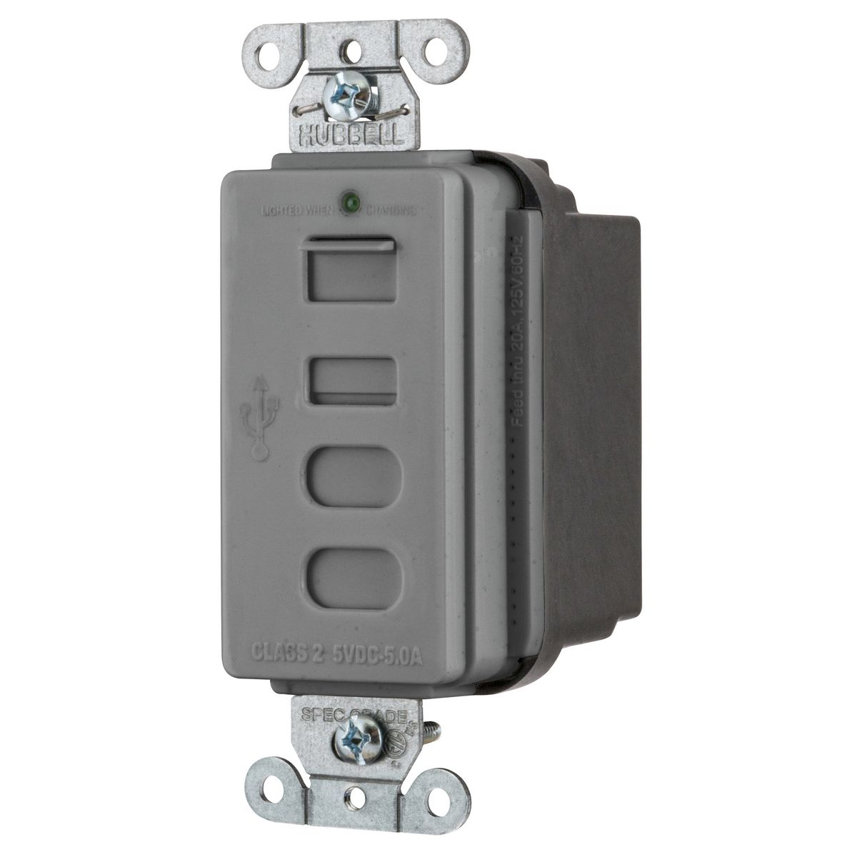 Hubbell USB4ACGY Receptacle and USB Charger