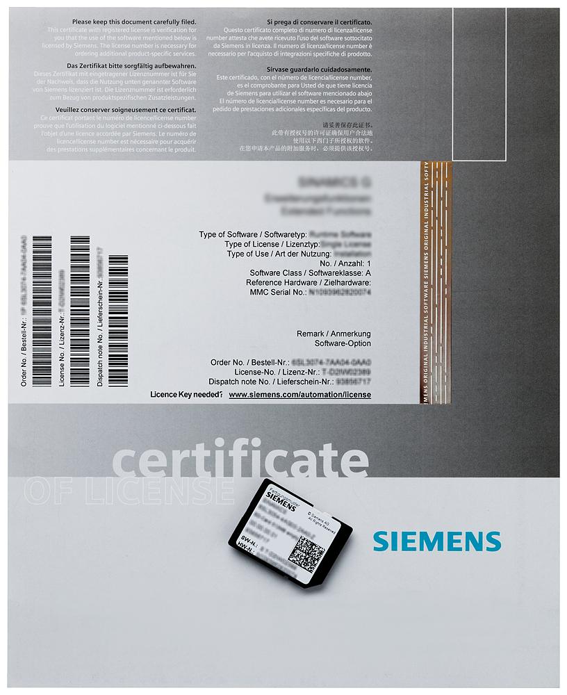 Siemens 6AU18201AA200AB0 Axis License