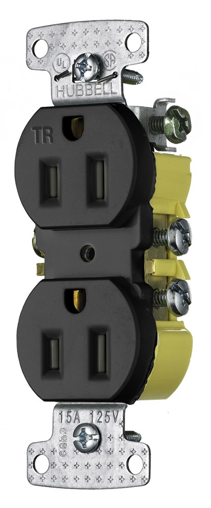 Hubbell RR15SBKTR Straight Blade Receptacle