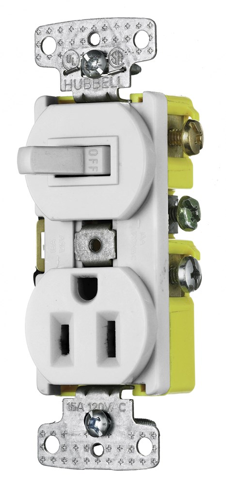 Hubbell RC108WTR Combination Switch and Receptacle