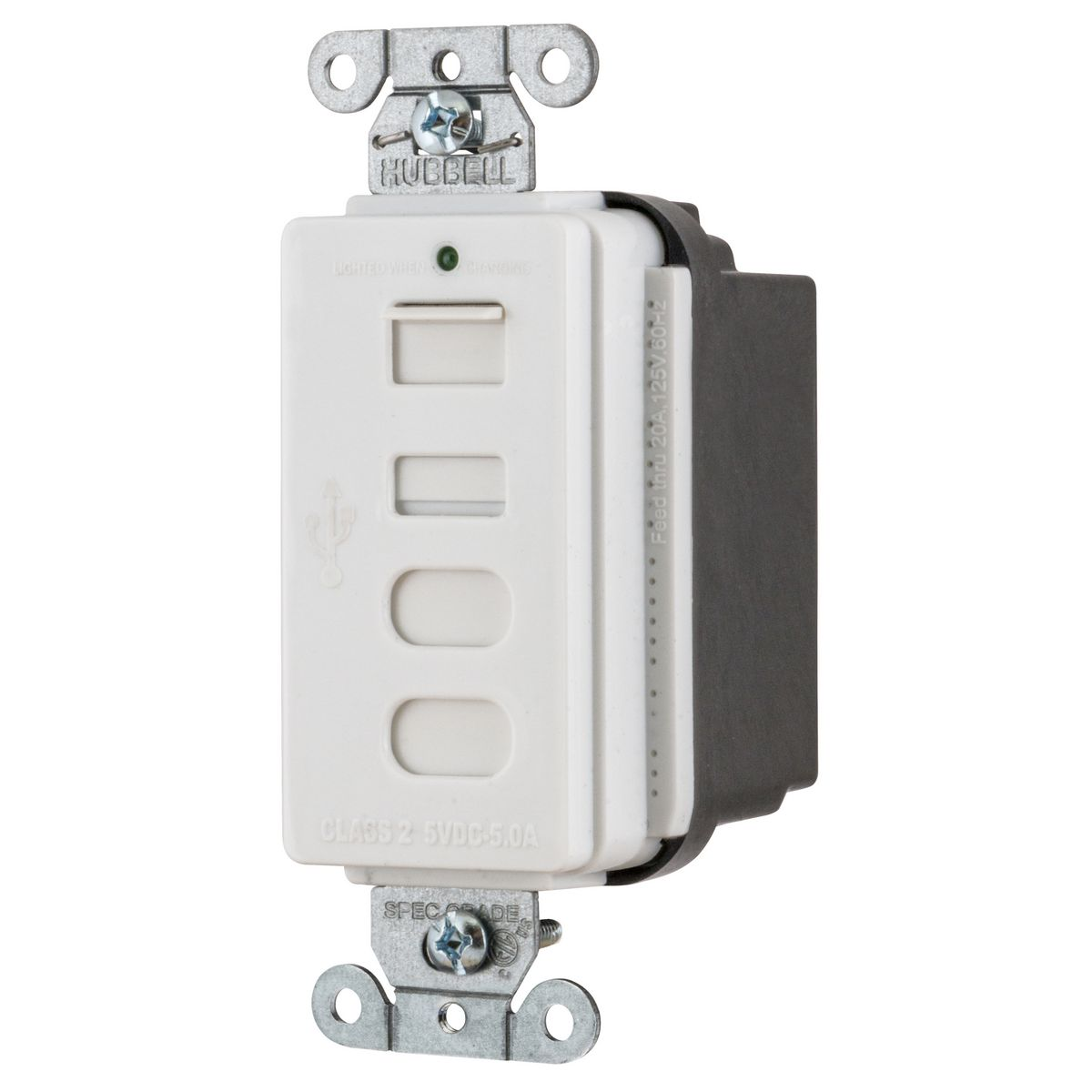 Hubbell USB4ACW Receptacle and USB Charger
