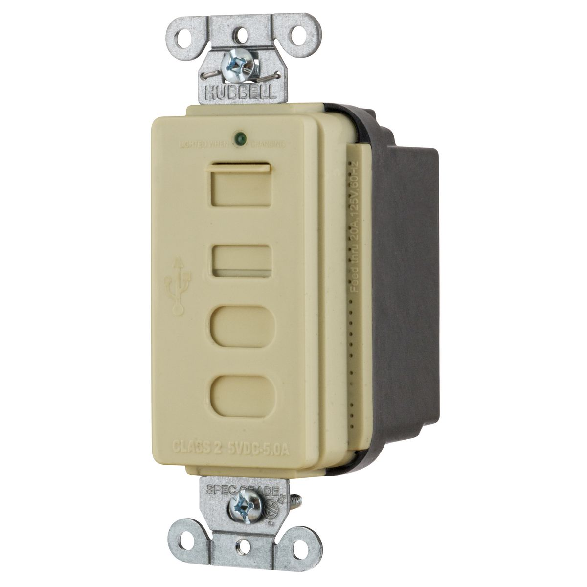 Hubbell USB4ACI Receptacle and USB Charger