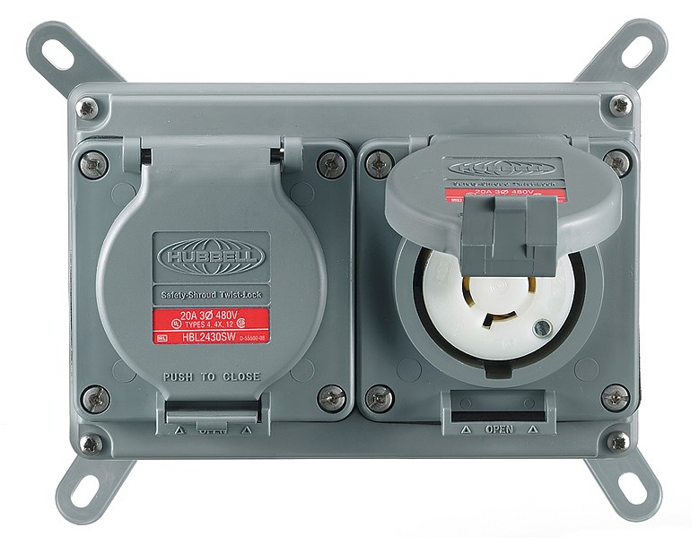 Hubbell MCWF2120 Duplex Locking Receptacle