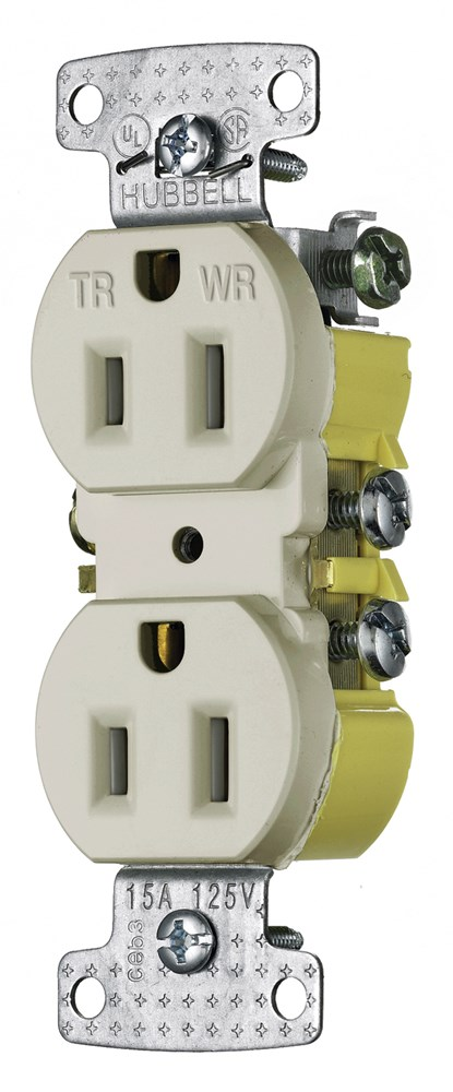 Hubbell RR15SLAWRTR Straight Blade Receptacle