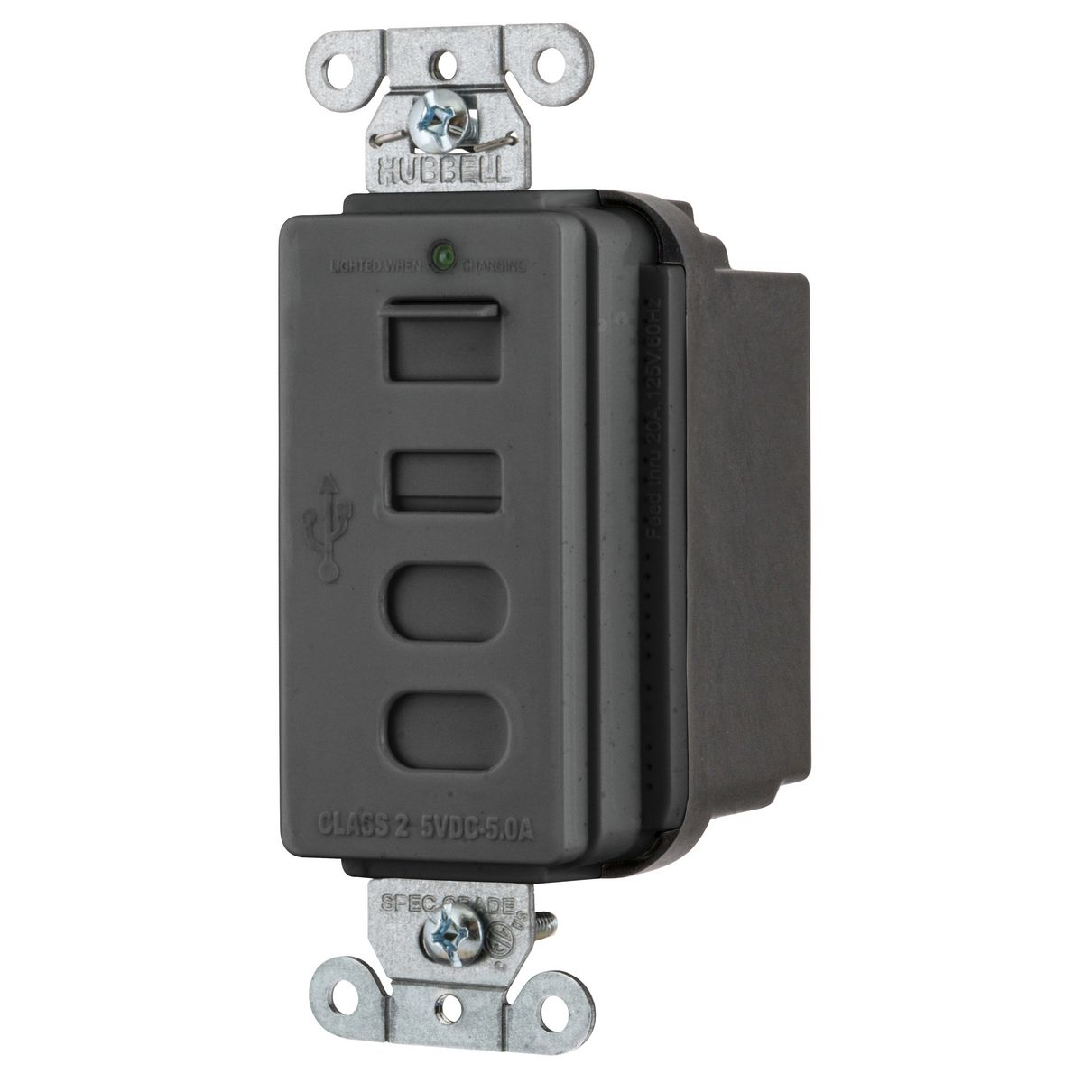 Hubbell USB4ACBK Receptacle and USB Charger